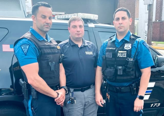 Palisades Park Police Officer Robert DeVito, Sgt. Marc Messing and Officer Theo Christolias