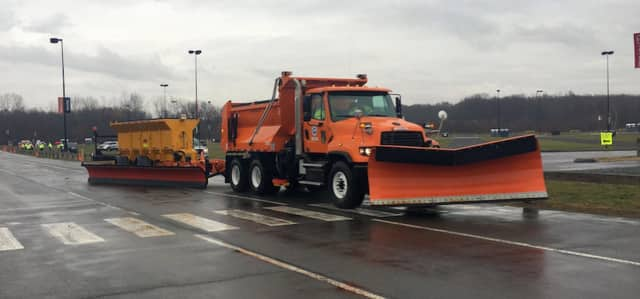 The state has a new fleet of three tow-behind plows that can clear snow and ice from two full highway lanes in a single pass. Towed in the rear of a truck, the plows measure 26 feet in length, essentially doubling the width of a single plow.