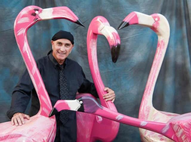 Ted Carrozza and his flamingo sculptures at a previous Ringwood St. Catherine of Bologna art show.