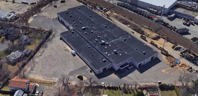 Aerial view of 316 Courtland Ave., a 118,500-square-foot property in Stamford that sold for $13.3 million.
