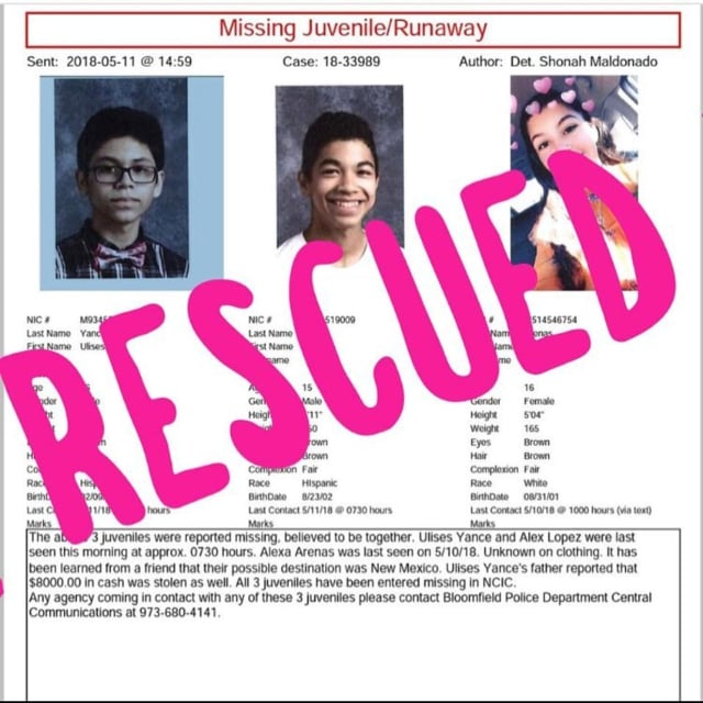Three teens have been located after being reported missing out of Bloomfield last week.