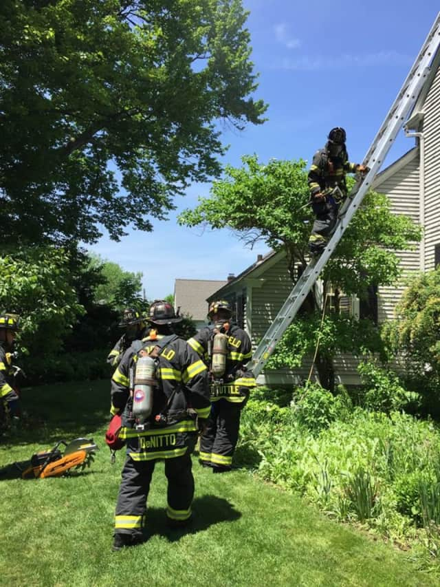 Fairfield firefighters respond to a third-story fire.