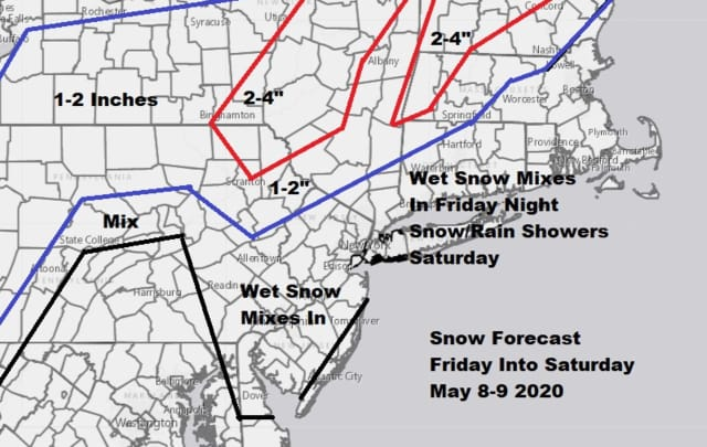 Cioffi's homemade snowfall forecast map.