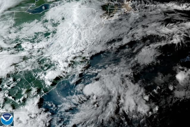 The budding tropical storm starts to take shape off the Carolinas.