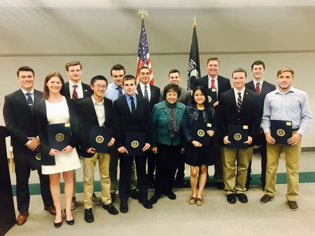 Rep. Nita Lowey with the students she nominated for the service academies.