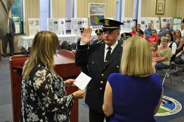 Haverstraw Police Chief Peter Murphy is sworn in.