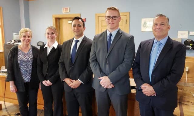 From left: First Selectman Tesoro, Caitlin Murphy, James Kassimis, Matthew O'Connor and Chief Michael Lombardo