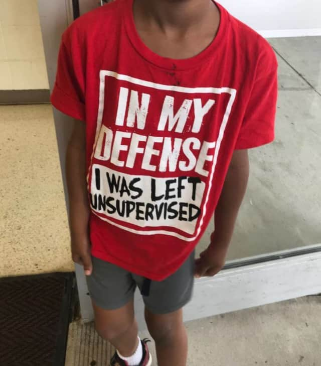 The missing child in Stamford was wearing an ironic shirt when he was found.
