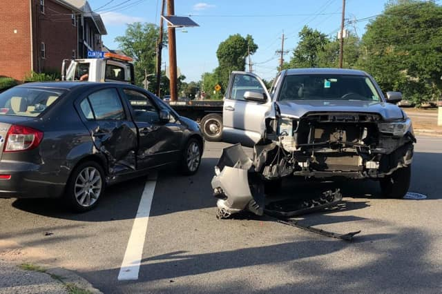 A Toyota and Suzuki collided in Hackensack Thursday.