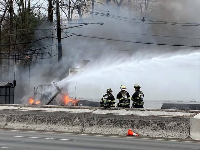 The cab burst into flames after hitting the utility pole on southbound Route 17 in Paramus.