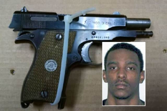 INSET: Richard Hobson, Jr.  / The gun that police said was used in the robberies.