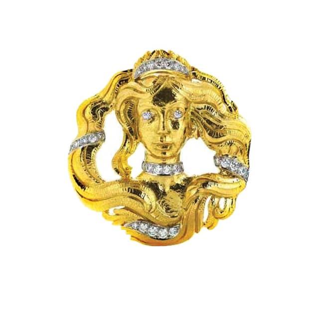David Webb's Virgo brooch in diamonds, 18-karat gold and platinum. Courtesy David Webb.