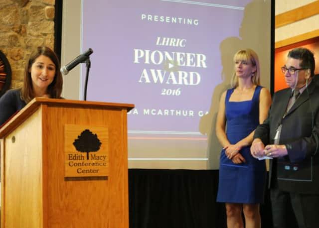 Amanda McArthur Gawron speaks at the awards ceremony.