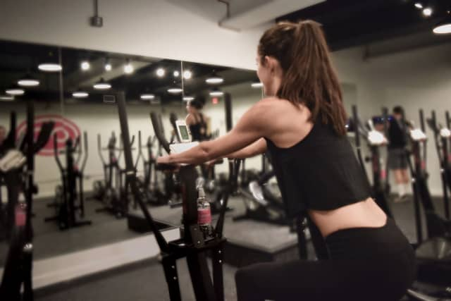 While an elliptical workout is upright, Elliptica uses different positions to work different muscles. Photographs courtesy Elliptica.