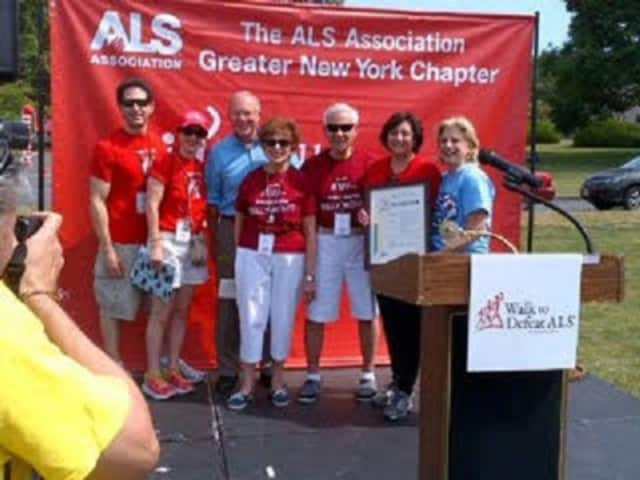 Pictured at Sunday's 14th annual Walk to Defeat ALS from left are, Mark and Donna Rubin, George Oros, Fran and Bill Monti, Dorine Gordon, chapter president, and Assemblywoman Shelley Mayer.
