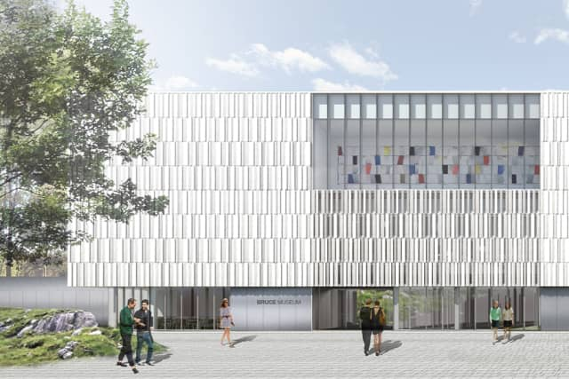 Exterior drawing of the new addition to the Bruce Museum in Greenwich, which will house art galleries, a café, a lecture hall and the Museum Store. Courtesy the Bruce Museum.