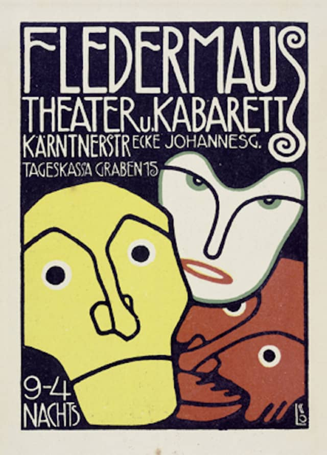 Bertold Löffler, poster for Cabaret Fledermaus, 1907. Also printed as Wiener Werkstätte postcard no. 71. Color lithograph. Printed by Albert Berger, Vienna. IMAGNO/Austrian Archives. Courtesy Thames & Hudson.