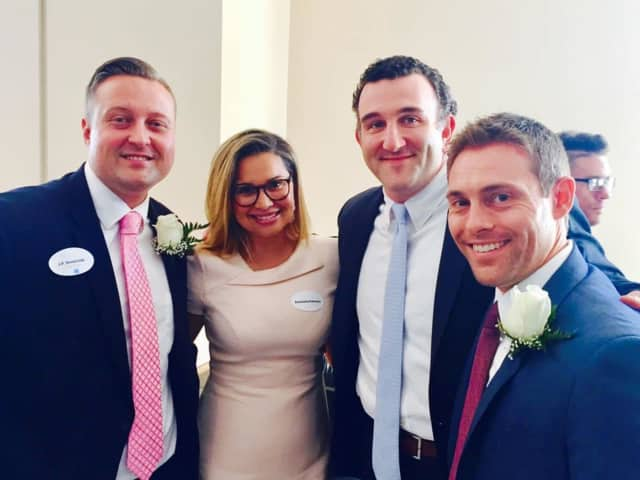 "State Rep. JP Sredzinski, previous ""40 under 40"" winners Emanuela Palmares and Sean Rabinowitz, 2017 award winner Jeff Lowell"