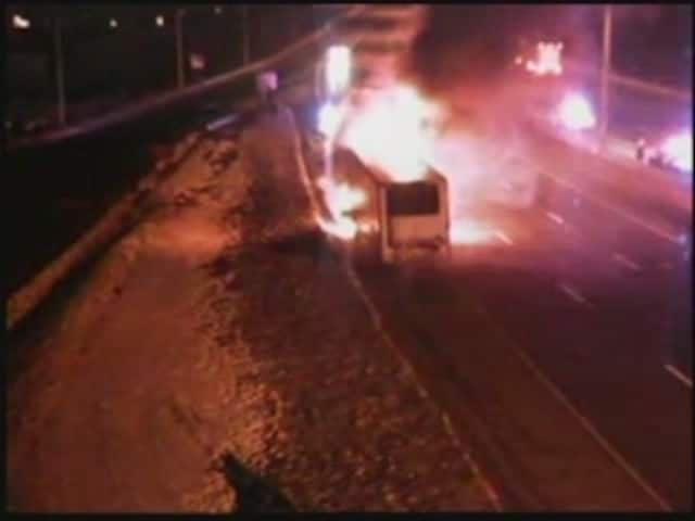 A look at the fully involved tractor-trailer fire on I-84 in Danbury.