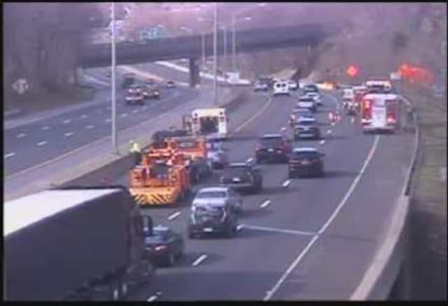 A three-car crash is closing two lanes of I-8 westbound in Danbury.