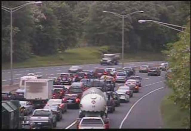 Traffic is building up on I-84 east in Danbury after a rollover crash between exits 4 and 5.