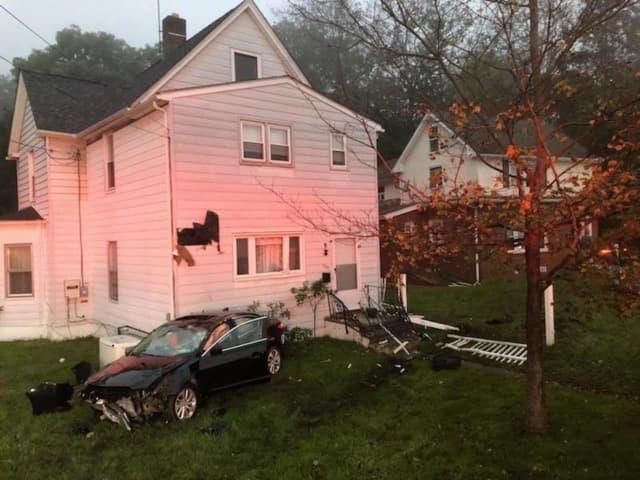 A car slammed into a house in Sloatsburg.