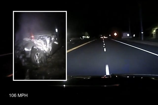 Dashcam and body camera footage from the Bordentown police pursuit.
