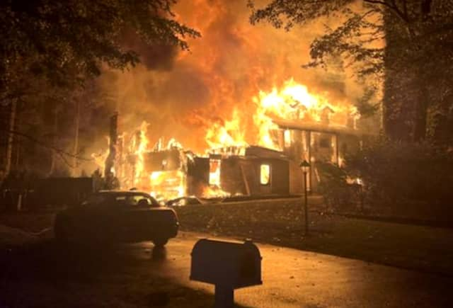 Police and firefighters found the 2,800-foot home on Cheyenne Drive in Franklin Lakes fully engulfed.