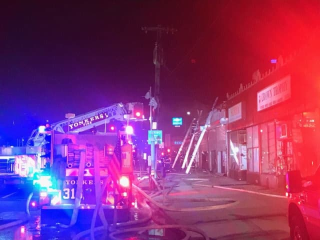 Several commercial buildings were damaged during a two-alarm fire in Yonkers.