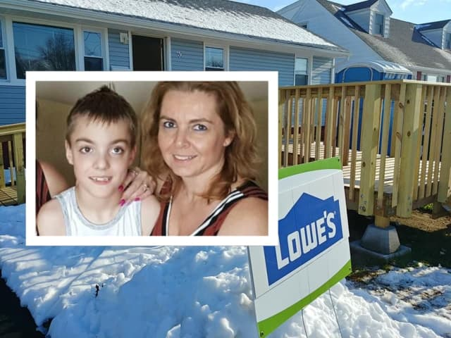Rebuilding Together North Jersey completed an unfinished ramp for Tracy Kulick and her son, Matthew, 10.