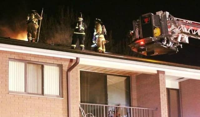 No injuries were reported in the Liberty Street blaze, which broke out around 8 p.m. and stretched through the entire cockloft, members of Little Ferry Hook & Ladder Company 1 said.