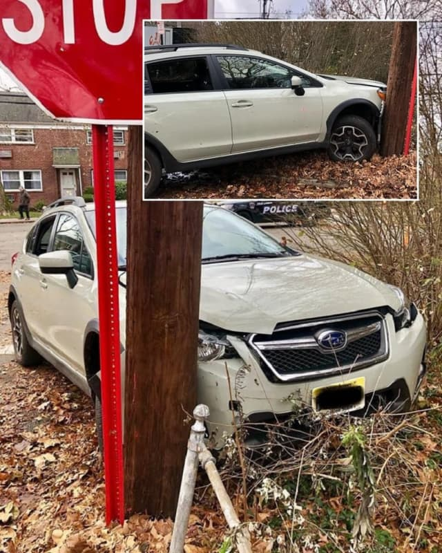 The woman wasn't seriously injured in the crash just after 11 a.m. on Plaza Road and Howard Avenue.