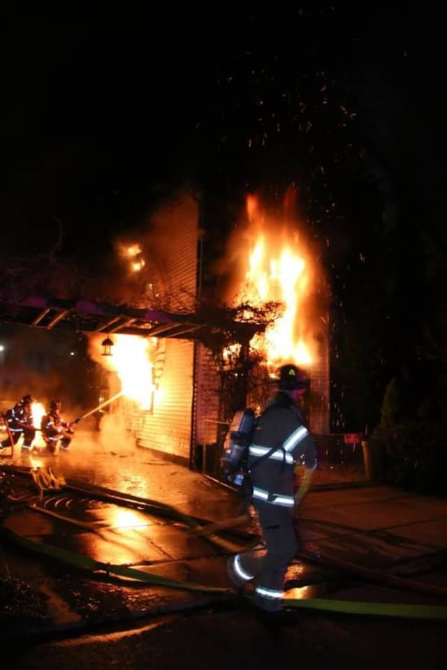 Flames engulfed the home.