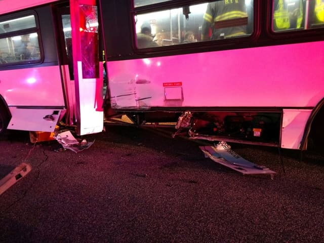 Three NJ Transit passengers were transported to the hospital Tuesday morning following a crash.