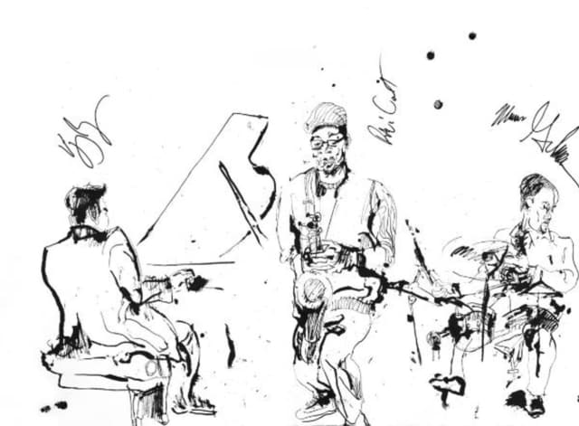 """Ink at Zinc,"" a jazz drawing by Jonathan Glass,"