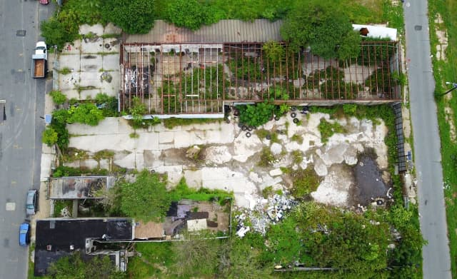 An overhead shot of what authorities said was a waste dump
