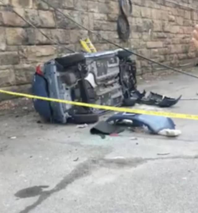 A New Rochelle man was killed when his vehicle fell over an embankment.