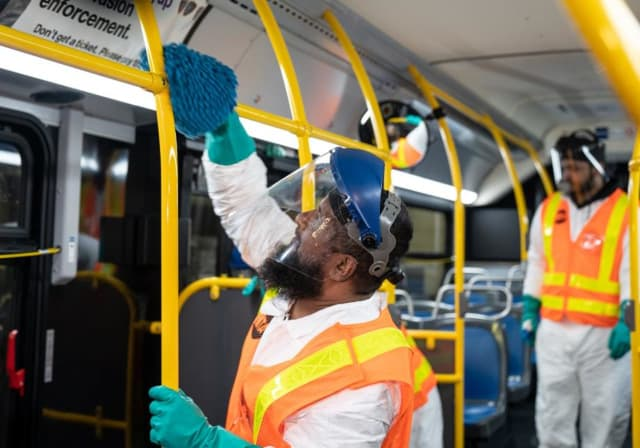 MTA employees are taking extra precautions to clean each train during the COVID-19 outbreak.