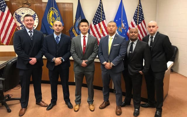 (left to right): Michael McDermott, Robert Then, Kevin Choi, Martin Kim, William Duarte, Brian Kunz