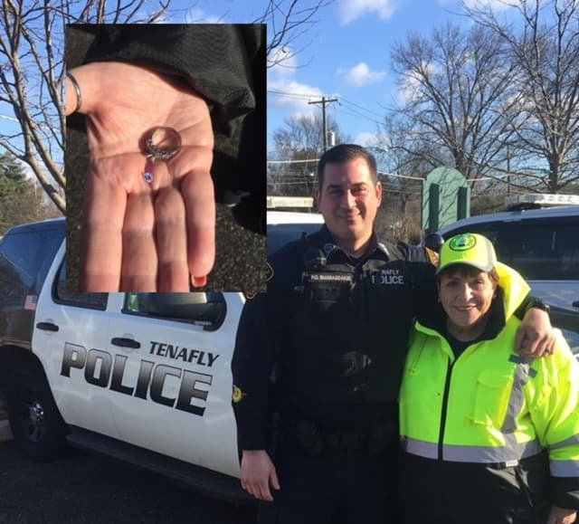 Tenafly Police Officer Louis Smaragdakis and crossing guard Kathy Iannantuano