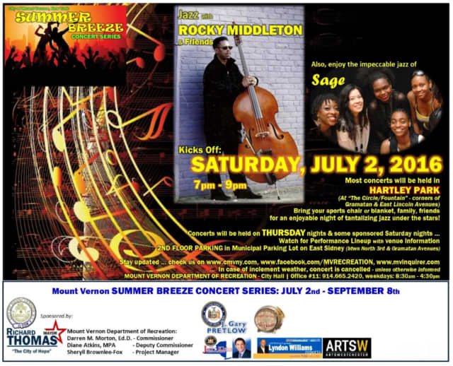 The Mount Vernon summer concert series opens Saturday, July 2 in Hartley Park. The series runs Saturdays to Sept. 8.