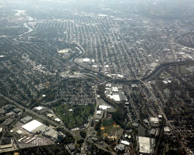 An aerial view of Fair Lawn, Paterson, and the Passaic River.