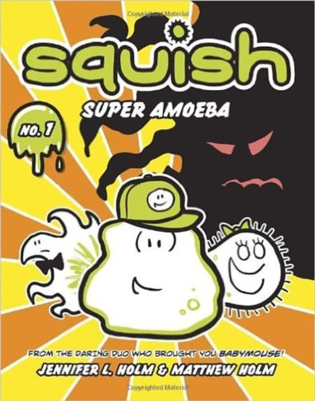 """The Second Grade Book Club at Scarsdale Library will talk about """"Squish"""" by Jennifer and Matthew Holm,"""