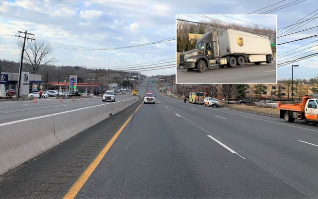 Route 17 was clear of civilian traffic for miles late Friday afternoon.