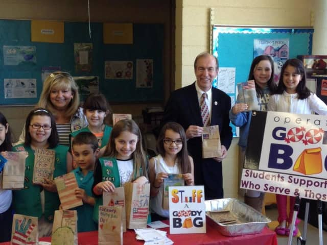 Mahwah Girl Scouts collect candy for Operation Goodybag.