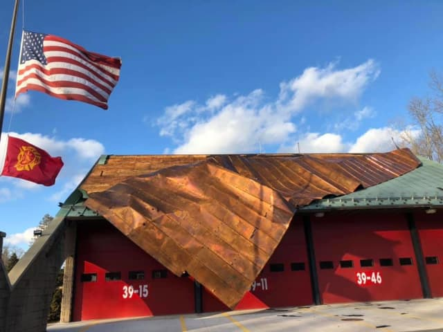 The copper roof was blown off the Hopewell Hose Fire Company firehouse.