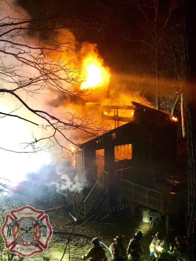High winds hindered fire-fighting efforts during a large house fire in Goldens Bridge.