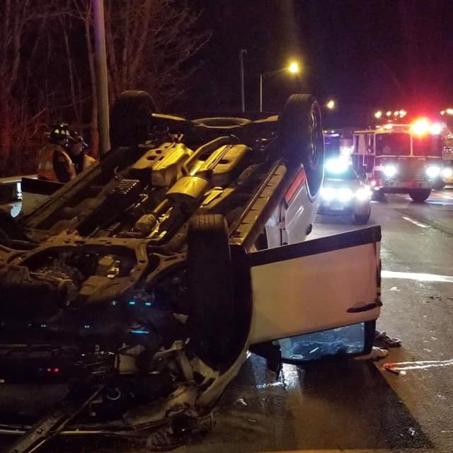 Two people received slight injuries during a rollover crash.
