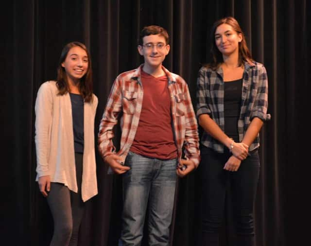 Ava Panetto, left, of Northern Valley Regional High School Demarest won the 2015 Poetry Out Loud Champion. Regan Mizrahi and Sara Reshamwala were the two runners up.