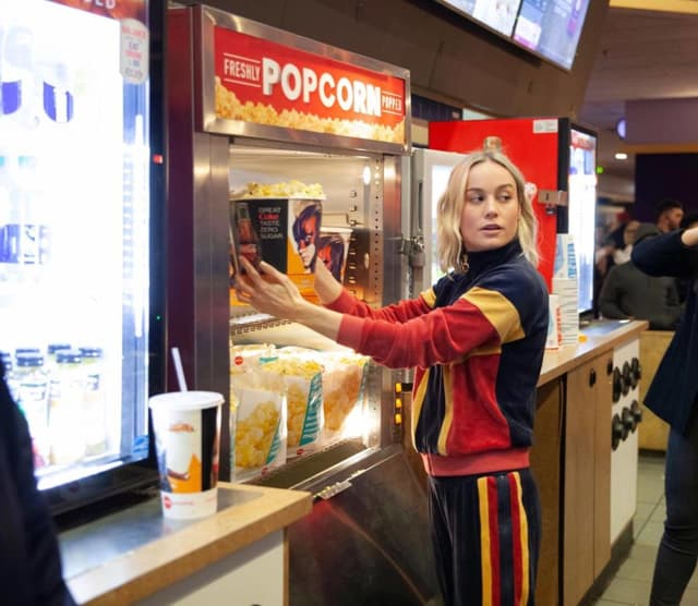 Brie Larson popped into  the AMC Clifton Commons theater over the weekend.